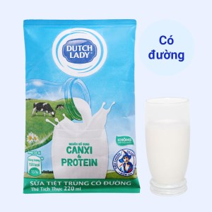 Sữa tiệt trùng có đường Dutch Lady Canxi & Protein 220ml