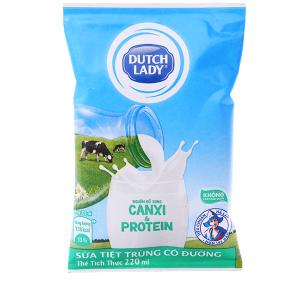 Sữa tiệt trùng Dutch Lady Canxi & Protein có đường 220ml