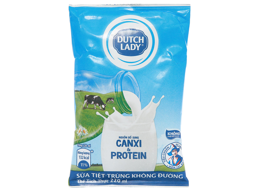 Sữa tiệt trùng không đường Dutch Lady Canxi & Protein bịch 220ml 2