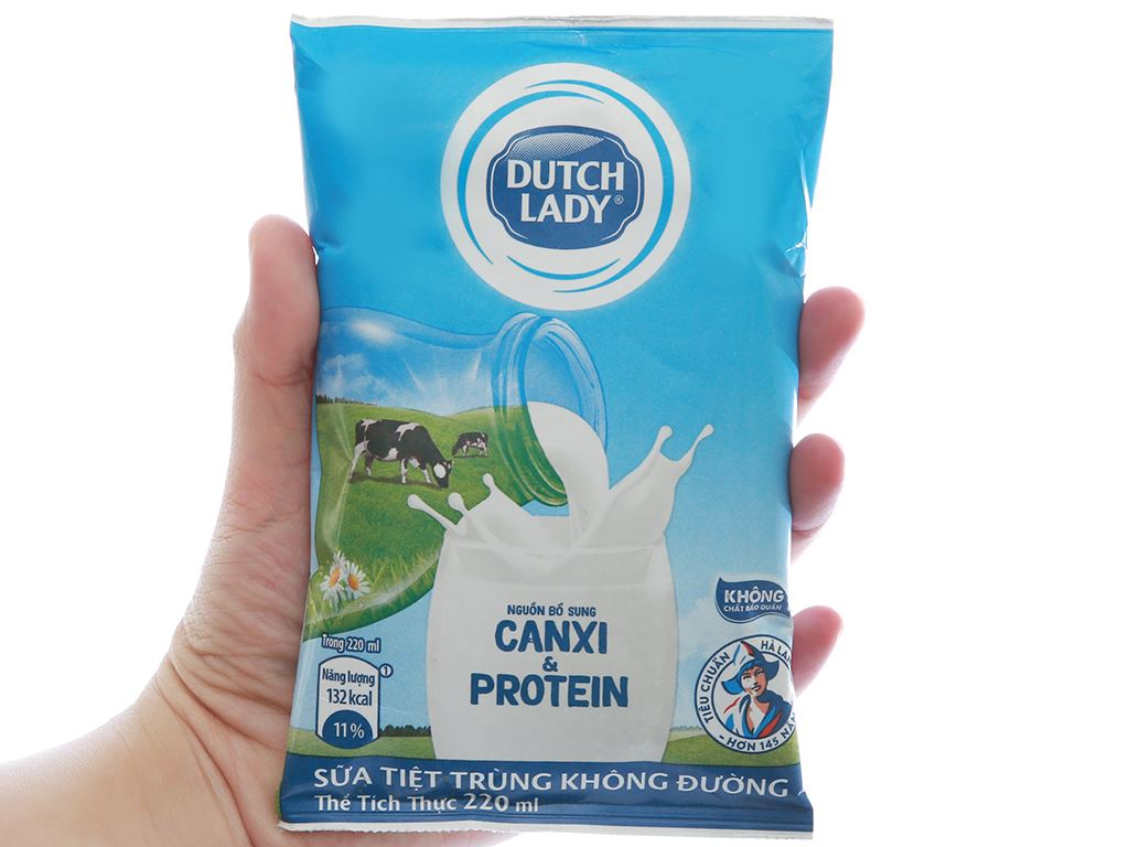 Sữa tiệt trùng không đường Dutch Lady Canxi & Protein bịch 220ml 4