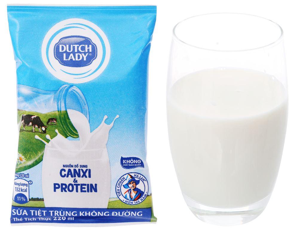 Sữa tiệt trùng không đường Dutch Lady Canxi & Protein bịch 220ml 1