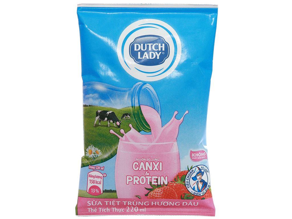 Sữa tiệt trùng Dutch Lady Canxi & Protein hương dâu bịch 220ml 1