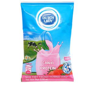 Sữa tiệt trùng Dutch Lady Canxi & Protein hương dâu bịch 220ml