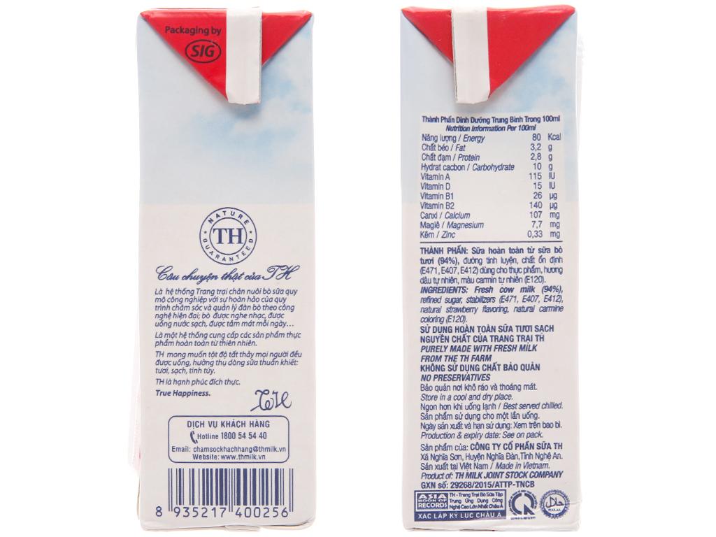 Sữa tươi tiệt trùng hương dâu TH true MILK hộp 180ml 5