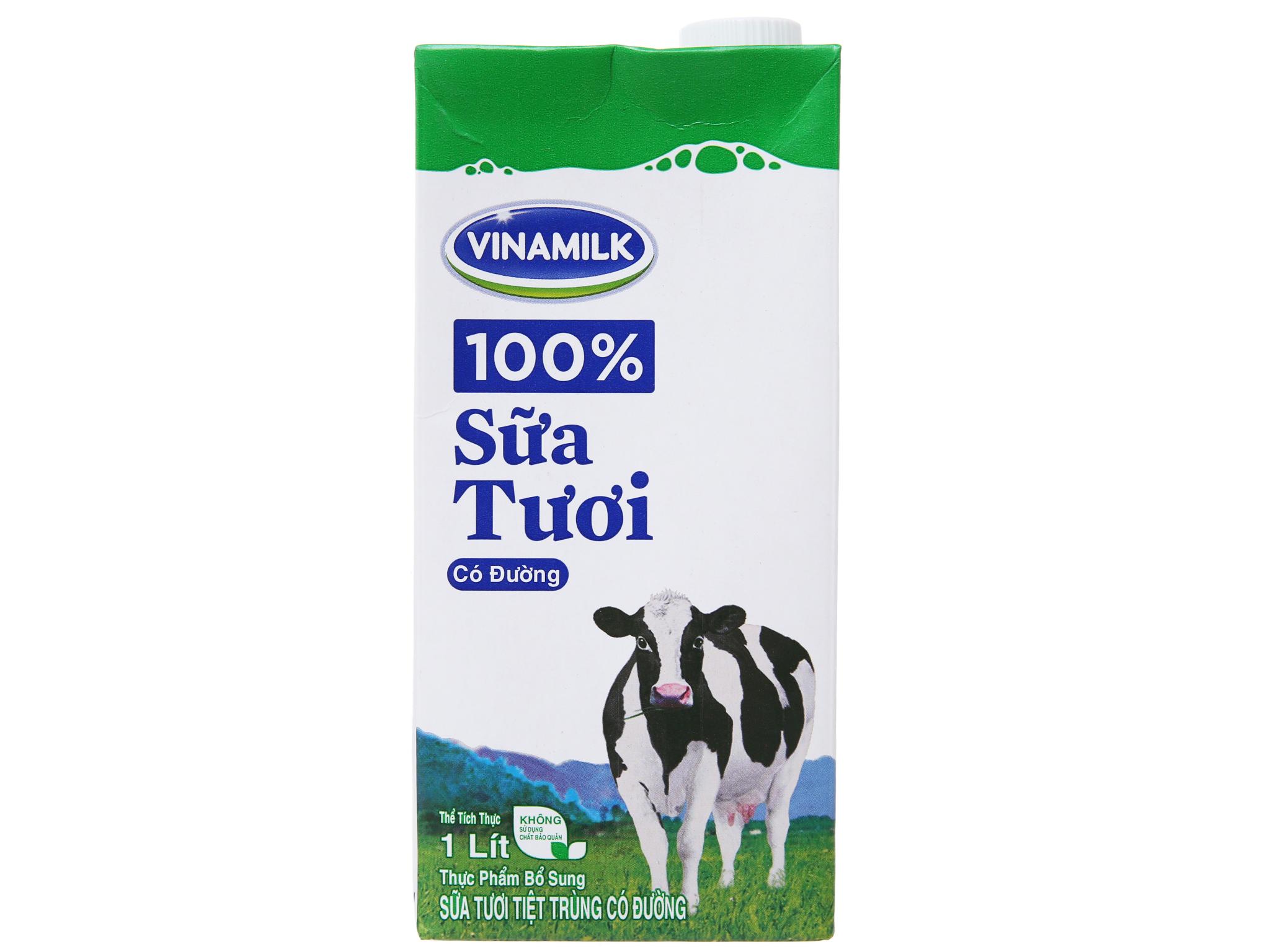 Sữa tươi tiệt trùng Vinamilk 100% Sữa Tươi có đường hộp 1 lít 2