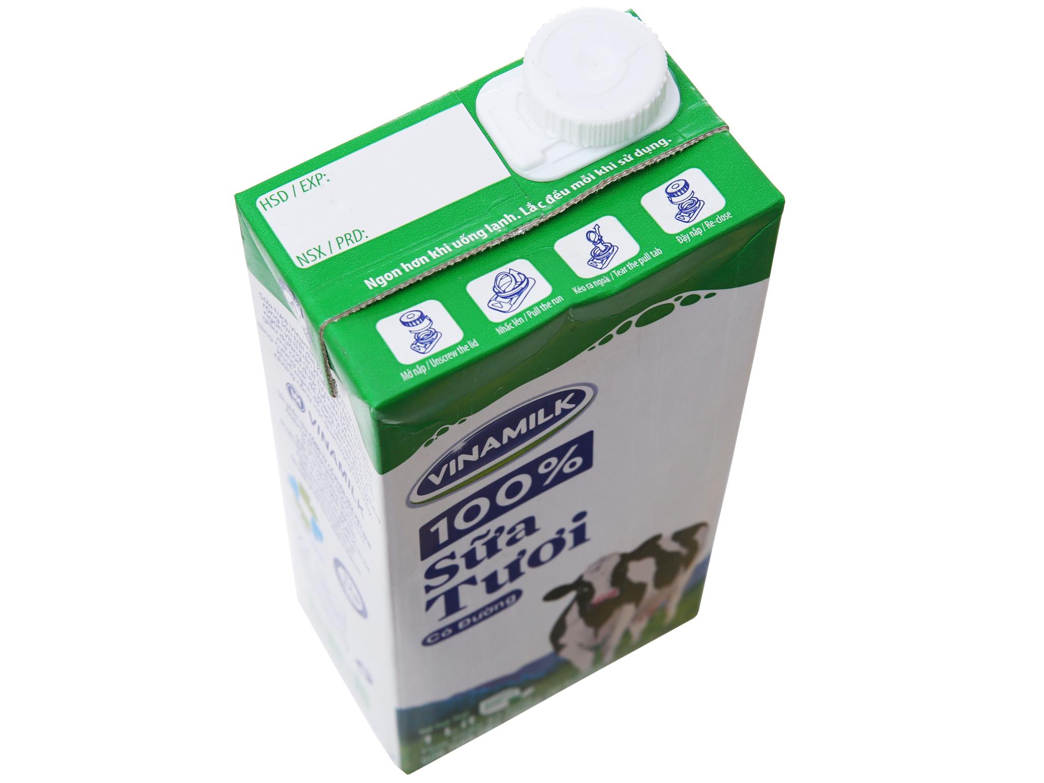 Sữa tươi tiệt trùng Vinamilk 100% Sữa Tươi có đường hộp 1 lít 3