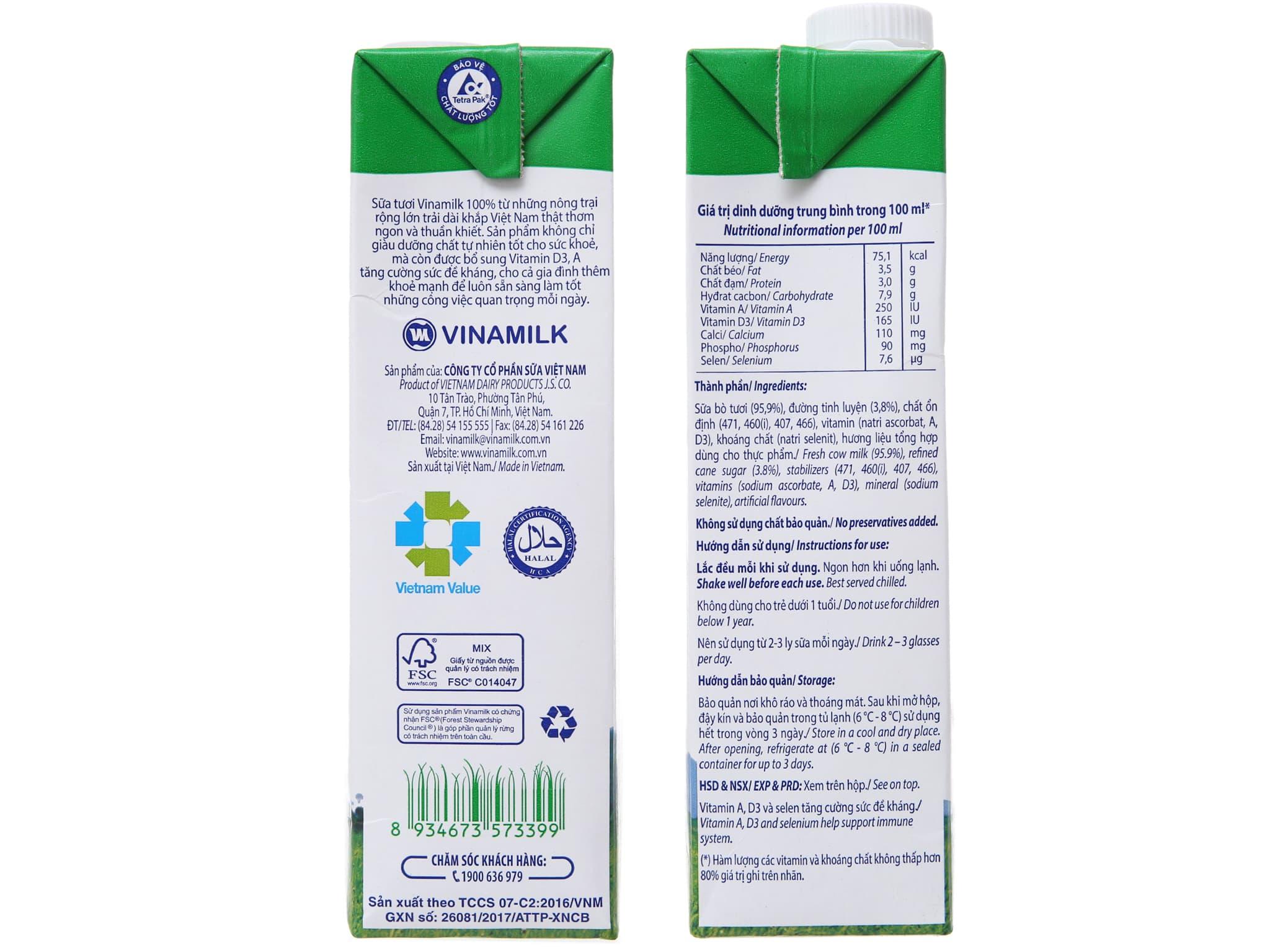 Sữa tươi tiệt trùng Vinamilk 100% Sữa Tươi có đường hộp 1 lít 4
