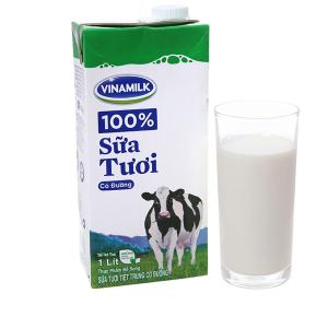 Sữa tươi tiệt trùng Vinamilk 100% Sữa Tươi có đường hộp 1 lít