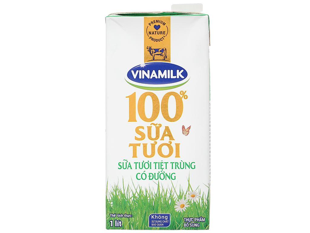 Sữa tươi có đường Vinamilk 100% Sữa Tươi hộp 1 lít 2