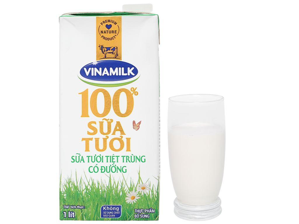 Sữa tươi có đường Vinamilk 100% Sữa Tươi hộp 1 lít 8