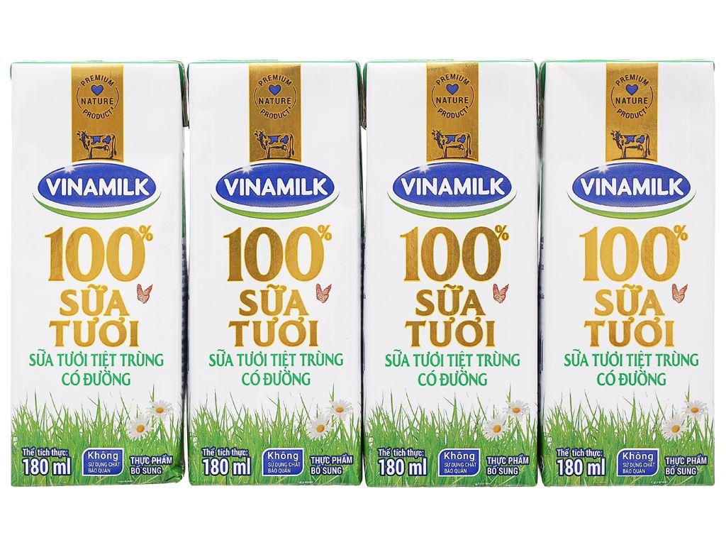 Lốc 4 hộp sữa tươi có đường Vinamilk 180ml 6