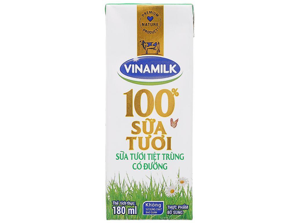 Lốc 4 hộp sữa tươi có đường Vinamilk 180ml 8