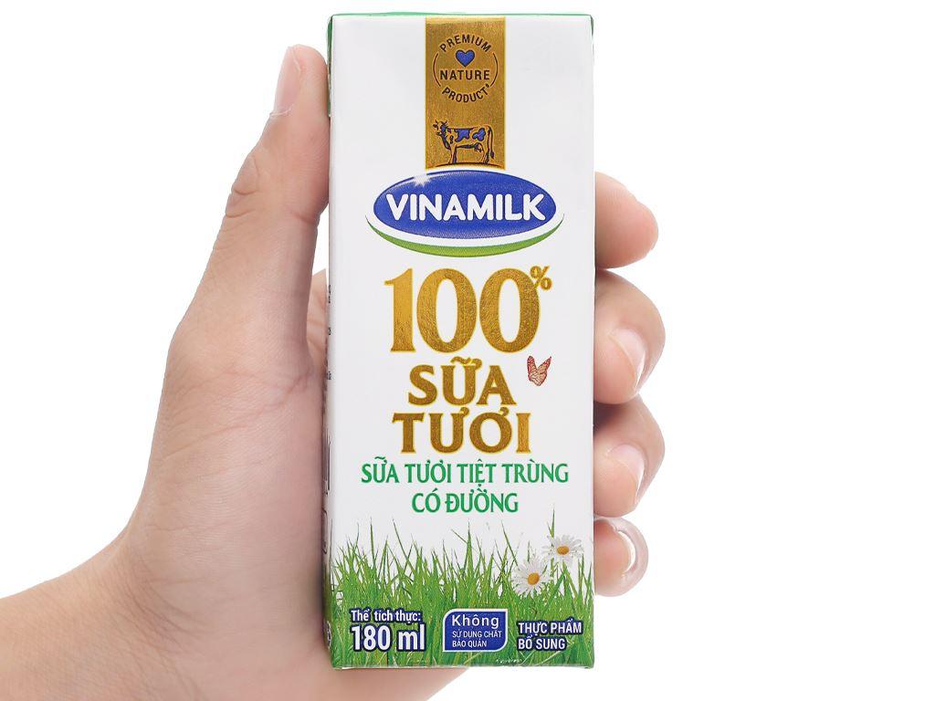 Lốc 4 hộp sữa tươi có đường Vinamilk 180ml 12