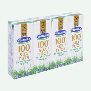 Lốc 4 hộp sữa tươi có đường Vinamilk 100% Sữa Tươi 180ml