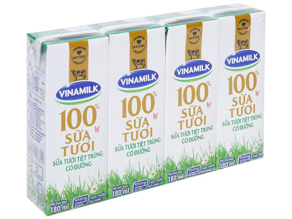 Lốc 4 hộp sữa tươi có đường Vinamilk 180ml 1