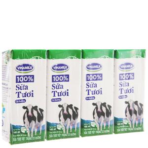 Lốc 4 hộp sữa tiệt trùng Vinamilk 100% Sữa Tươi có đường 180ml
