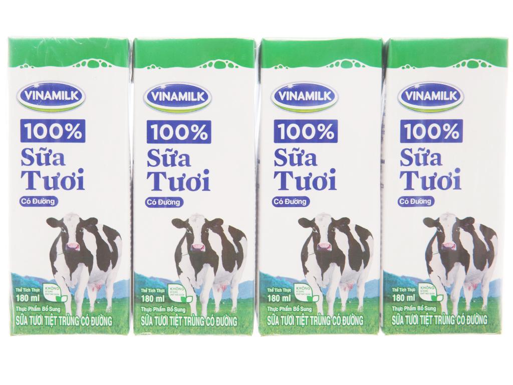 Lốc 4 hộp sữa tươi có đường Vinamilk 100% Sữa Tươi 180ml 2