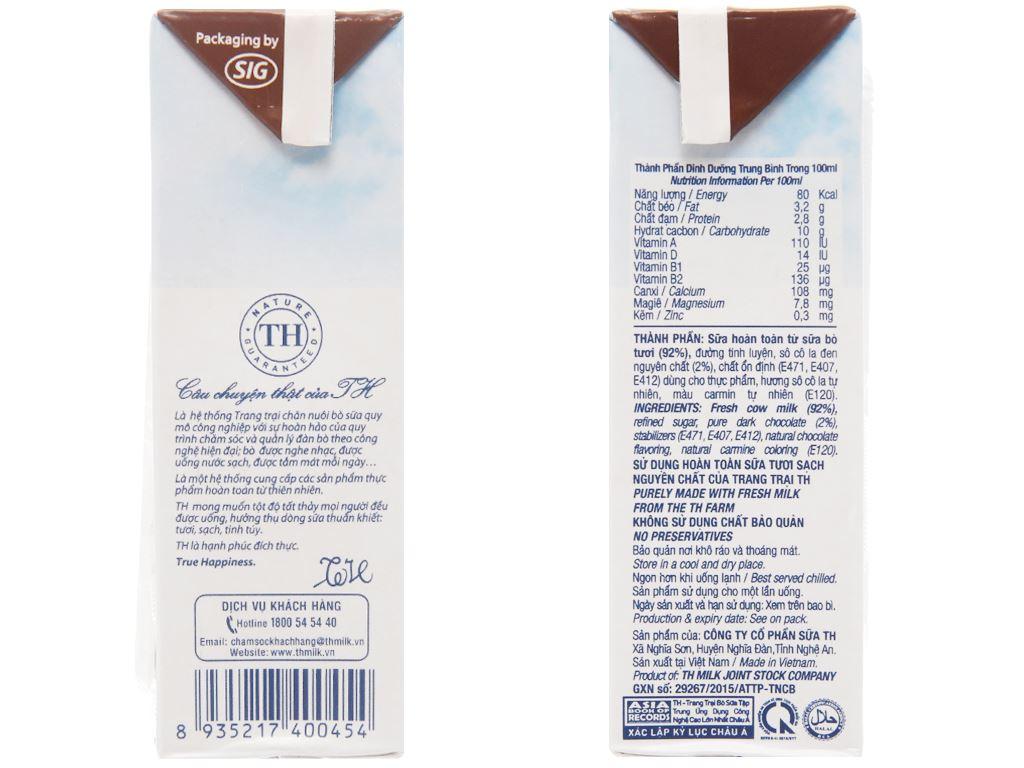 Sữa tươi tiệt trùng TH true MILK socola hộp 180ml 5