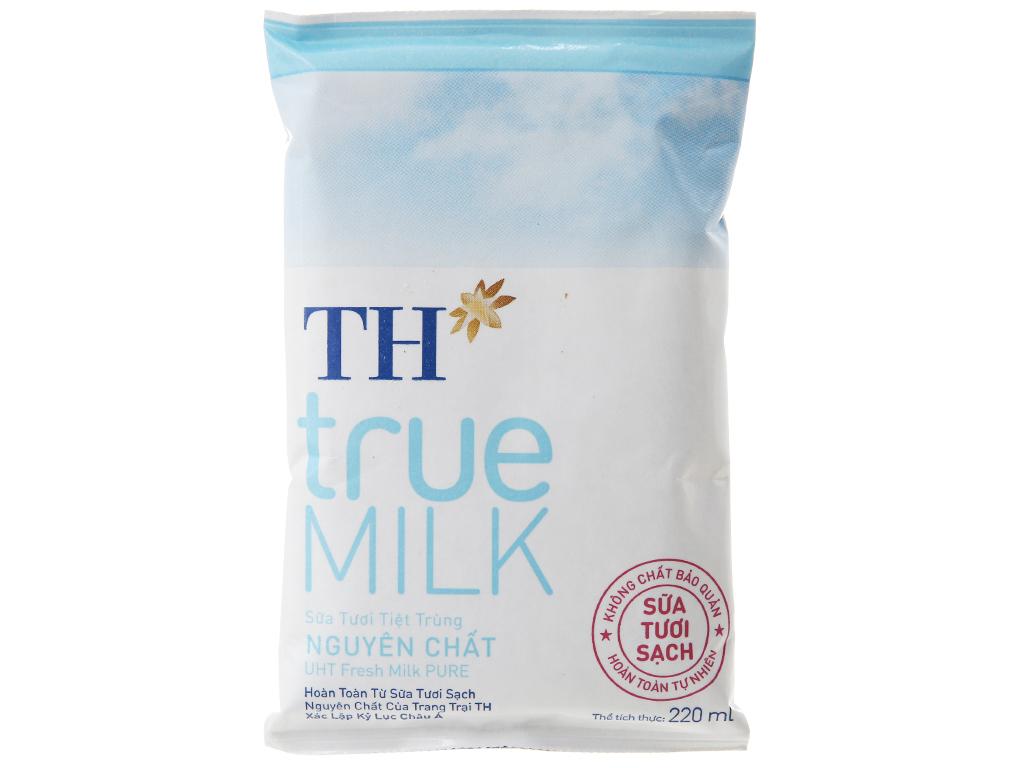 Sữa tươi tiệt trùng TH true MILK không đường bịch 220ml 2