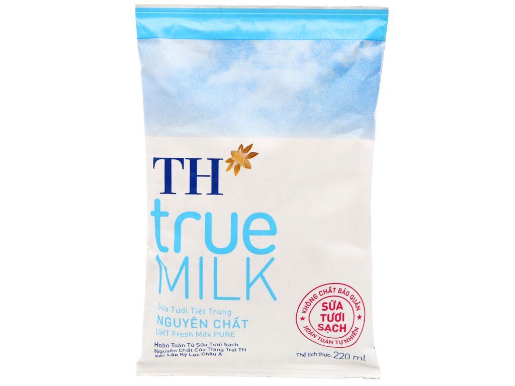 Sữa tươi tiệt trùng nguyên chất không đường TH true MILK bịch 220ml 5