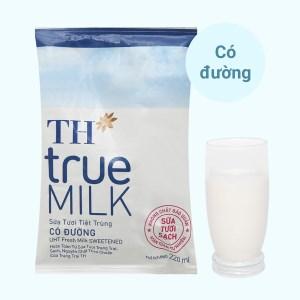 Sữa tươi tiệt trùng có đường TH true MILK bịch 220ml