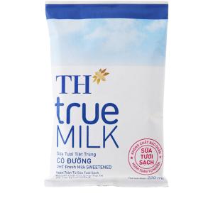 Sữa tươi tiệt trùng TH true MILK Có đường bịch 220ml