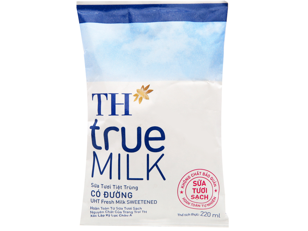 Sữa tươi tiệt trùng có đường TH true MILK bịch 220ml 5