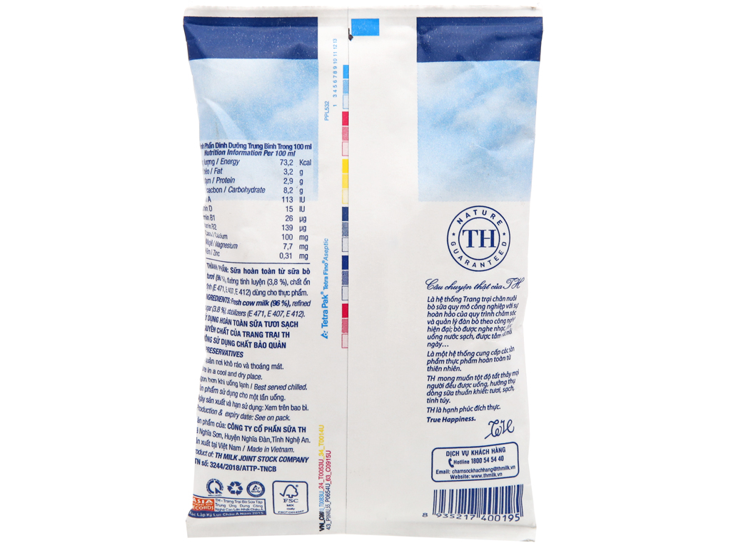 Sữa tươi tiệt trùng có đường TH true MILK bịch 220ml 6