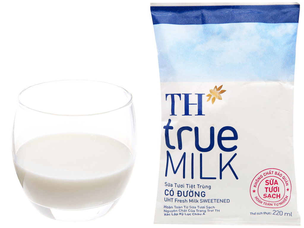 Sữa tươi tiệt trùng có đường TH true MILK bịch 220ml 10