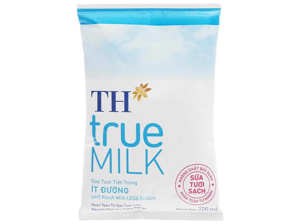 Sữa tươi tiệt trùng ít đường TH true MILK bịch 220ml 1