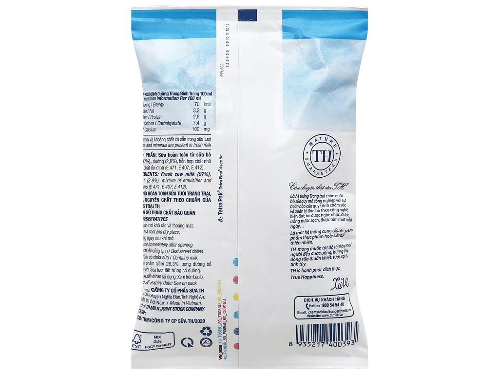 Sữa tươi tiệt trùng ít đường TH true MILK bịch 220ml 2