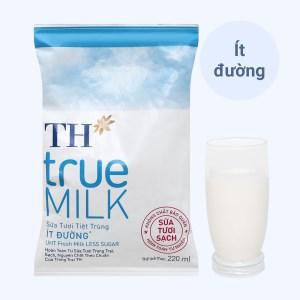 Sữa tươi tiệt trùng ít đường TH true MILK bịch 220ml