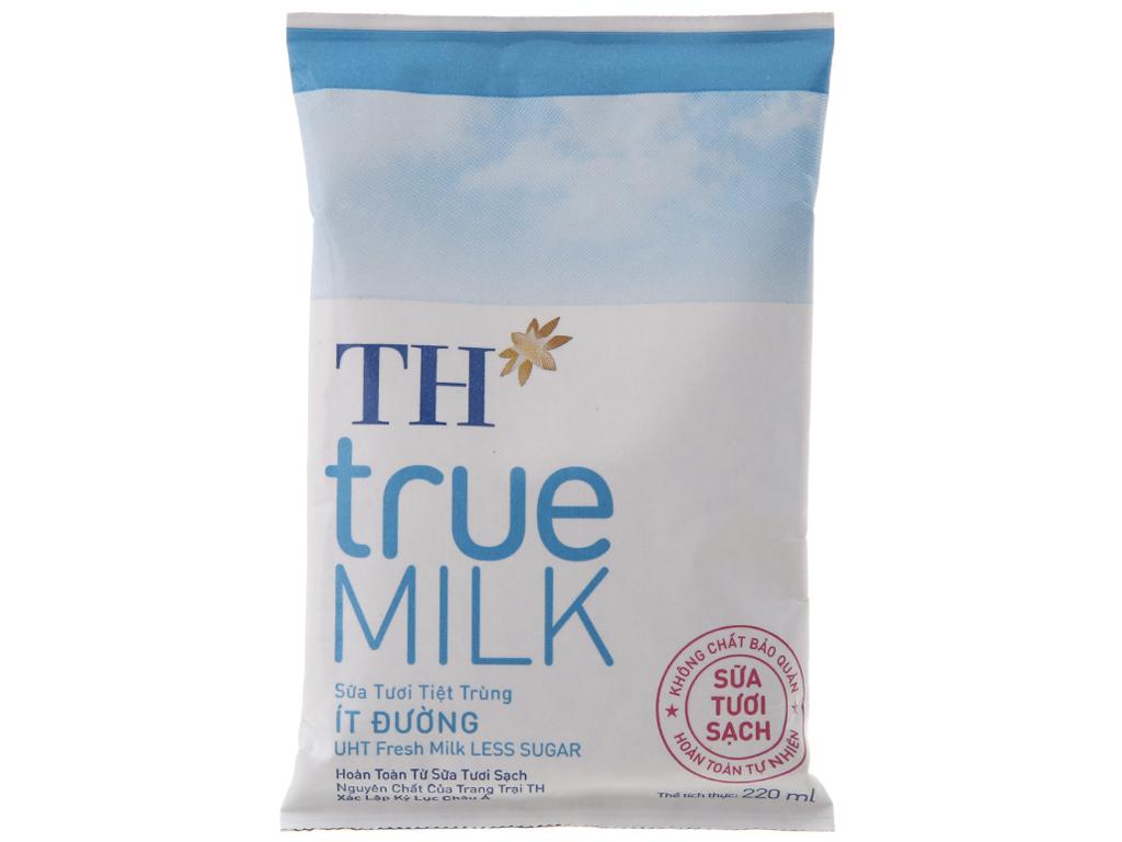 Sữa tươi tiệt trùng TH true MILK ít đường bịch 220ml 2