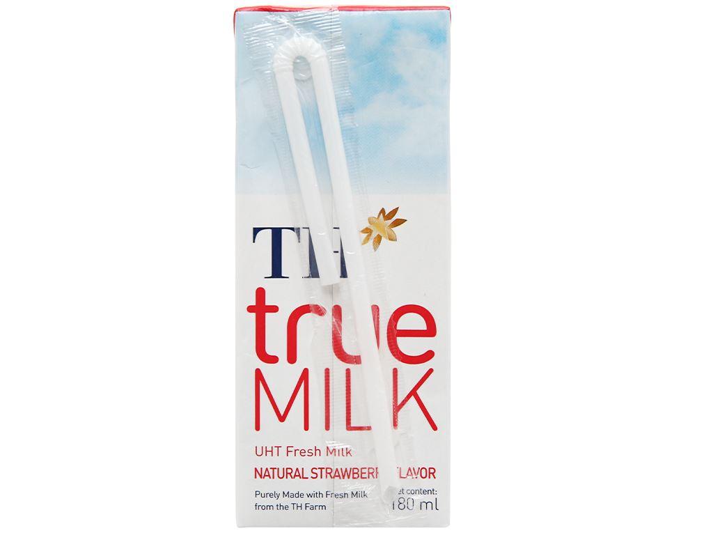 Lốc 4 hộp sữa tươi tiệt trùng hương dâu TH true MILK 180ml 4