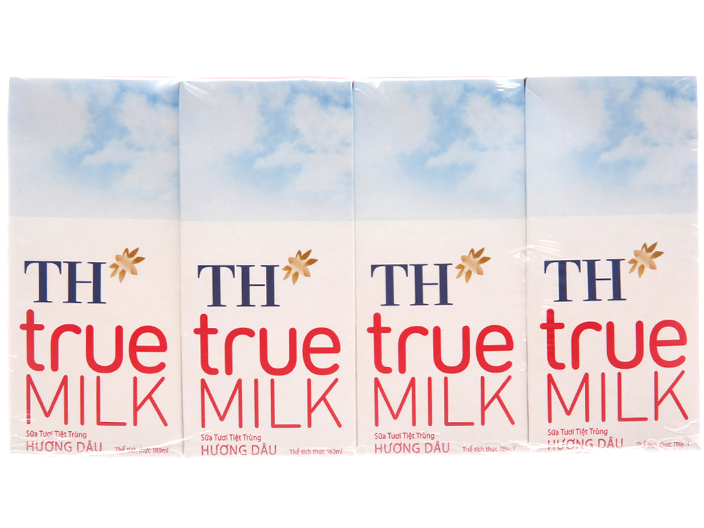 Lốc 4 hộp sữa tươi tiệt trùng TH true MILK hương dâu 180ml 1