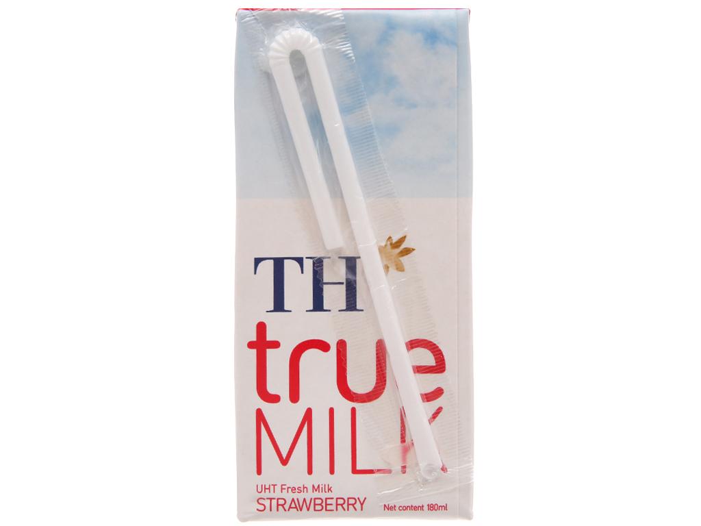 Lốc 4 hộp sữa tươi tiệt trùng hương dâu TH true MILK 180ml 3