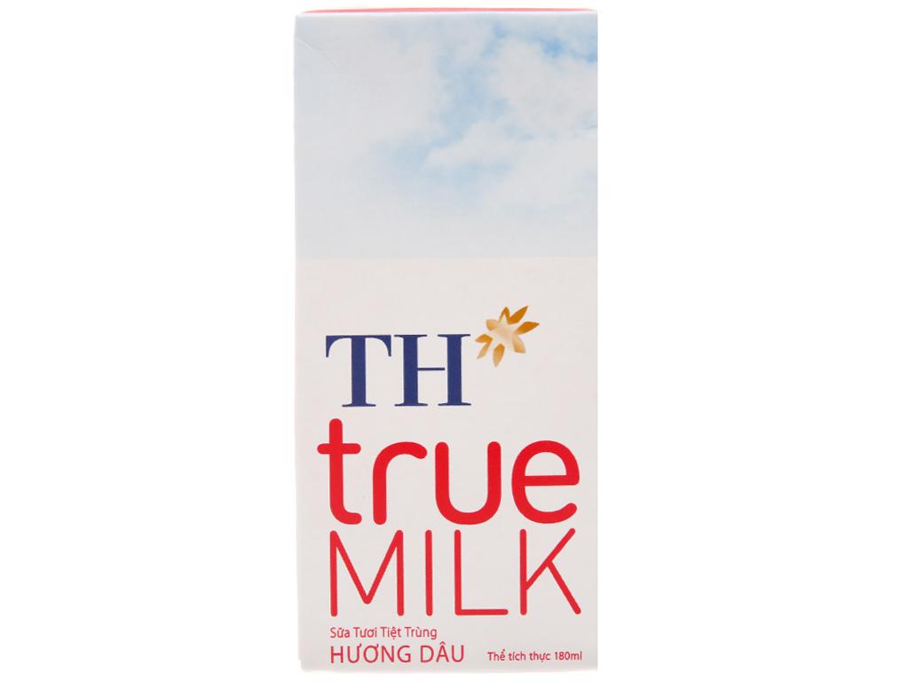 Lốc 4 hộp sữa tươi tiệt trùng TH true MILK hương dâu 180ml 2