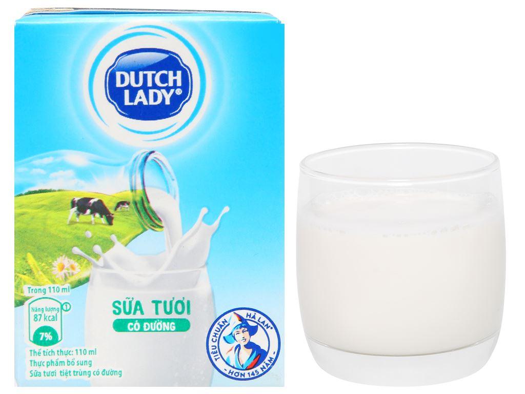 Lốc 4 hộp sữa tiệt trùng có đường Dutch Lady 110ml 8