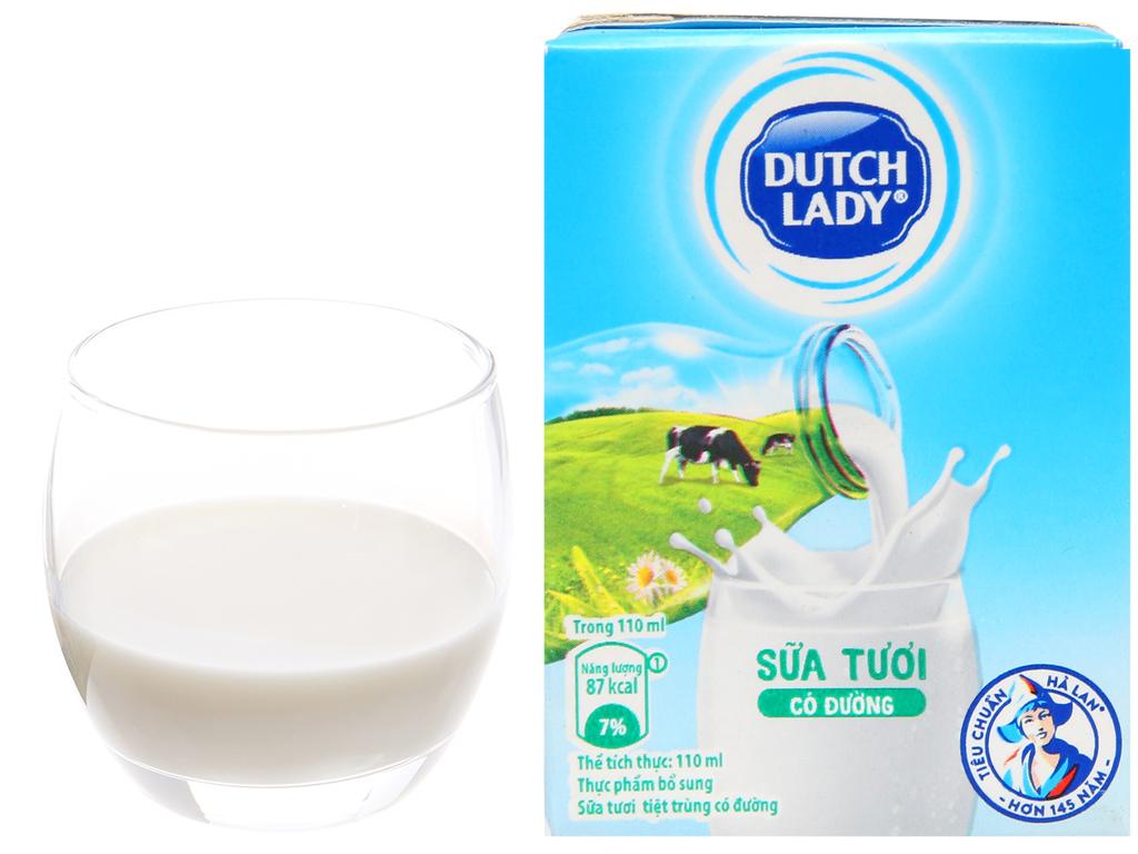 Lốc 4 hộp sữa tiệt trùng có đường Dutch Lady 110ml 6