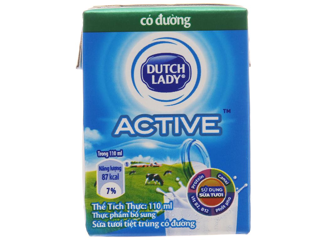 Lốc 4 hộp sữa tiệt trùng Dutch Lady có đường 110ml 3