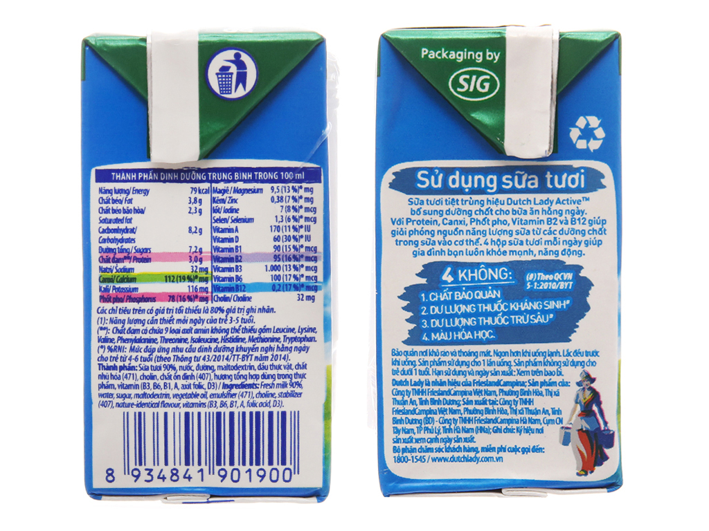 Lốc 4 hộp sữa tiệt trùng Dutch Lady có đường 110ml 5