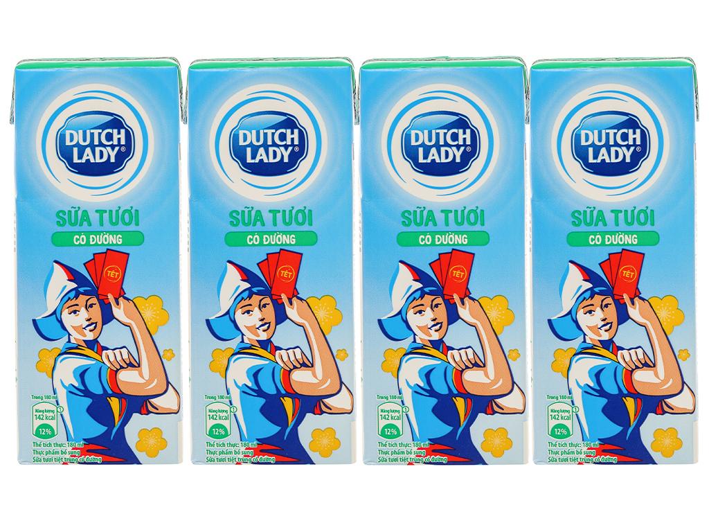 Lốc 4 hộp sữa tươi tiệt trùng có đường Dutch Lady 180ml 2