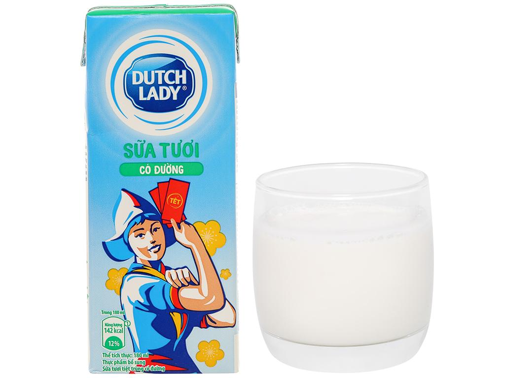Lốc 4 hộp sữa tươi tiệt trùng có đường Dutch Lady 180ml 12