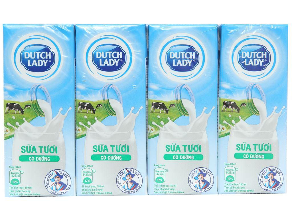 Lốc 4 hộp sữa tươi tiệt trùng có đường Dutch Lady 180ml 1