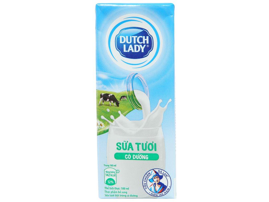 Lốc 4 hộp sữa tươi tiệt trùng có đường Dutch Lady 180ml 4