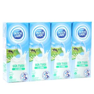 Lốc 4 hộp sữa tươi tiệt trùng có đường Dutch Lady 180ml
