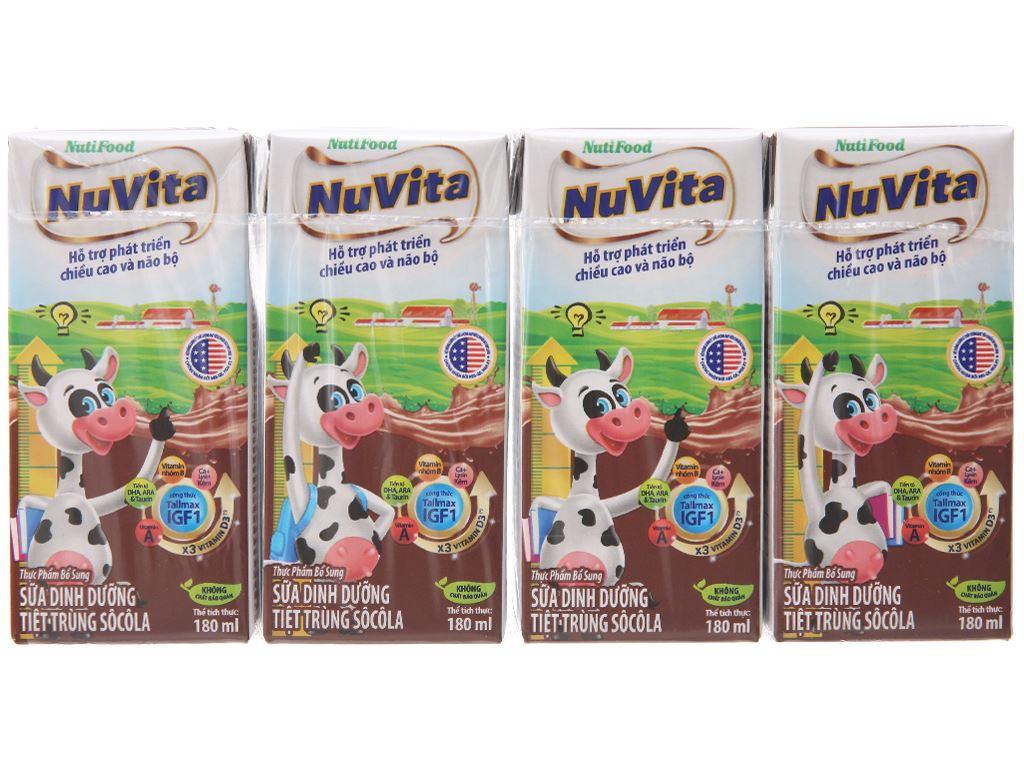 Lốc 4 hộp sữa tiệt trùng Nuvita sô cô la 180ml 2