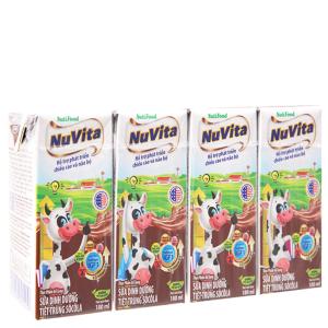 Lốc 4 hộp sữa tiệt trùng Nuvita sô cô la 180ml
