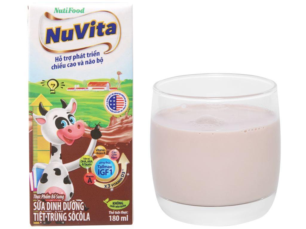 Lốc 4 hộp sữa tiệt trùng socola Nuvita 180ml 8