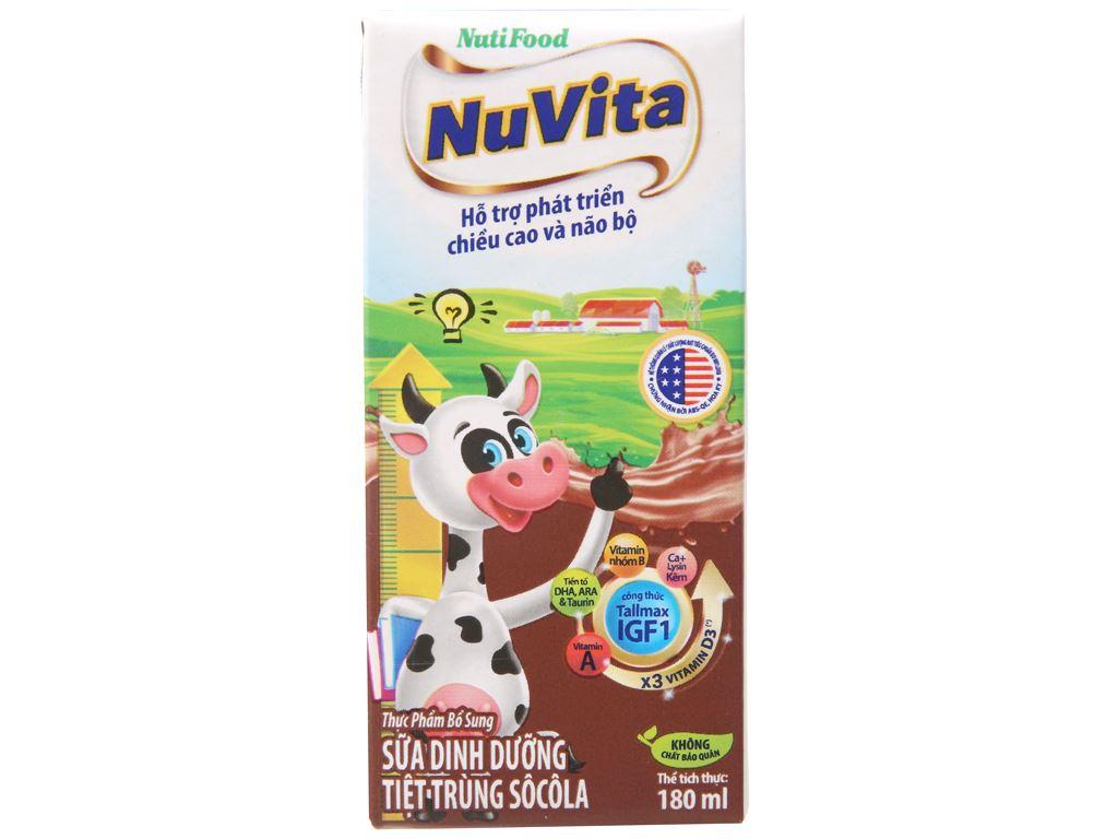Lốc 4 hộp sữa tiệt trùng Nuvita sô cô la 180ml 3